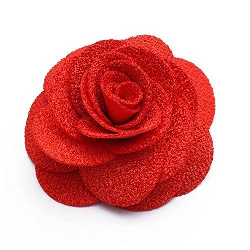 Flower Brooch Pin Corsage Hair Clip Red Floral Cloth Wedding Bridal Vintage