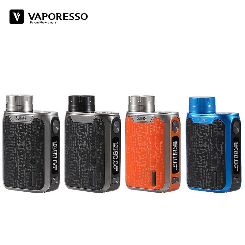 Vaporesso Swag Mod 80W Vape TC Box Mod 510 Thread Compatible With NRG SE Tank Portable Size Top Battery Cap Design Without 18650