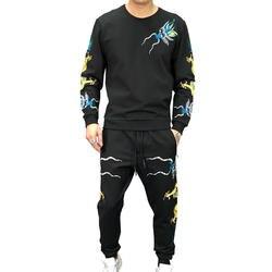 (2 шт./компл.) Правда гуляка модные черные мужские комплект рукавами и вышивкой спортивный костюм дракона вечерние клуб повседневный костюм