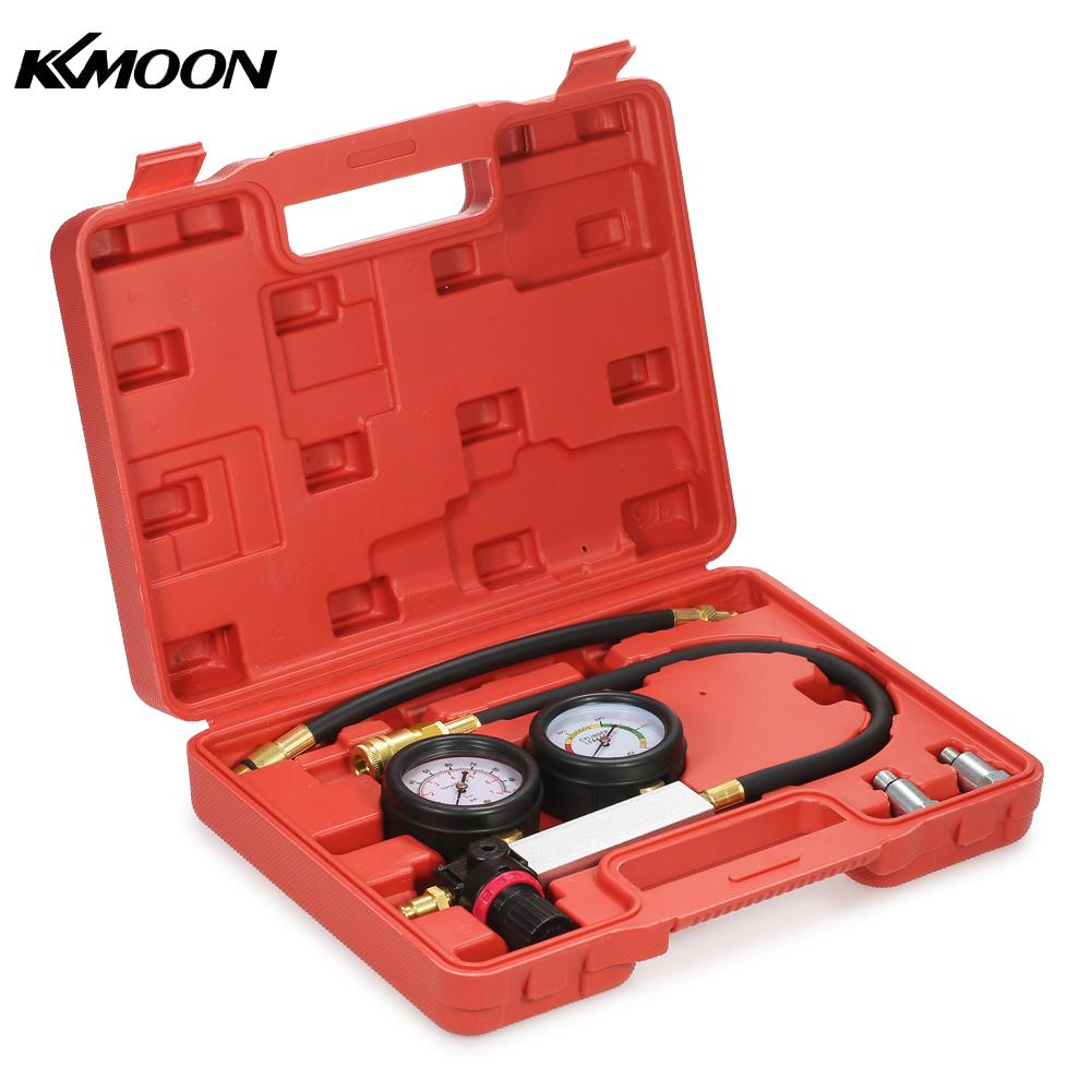 Auto Cylinder Leak Tester Compression Leakage Detector Kit Set Petrol Engine Gauge Tool Kit Double Gauge System with Case