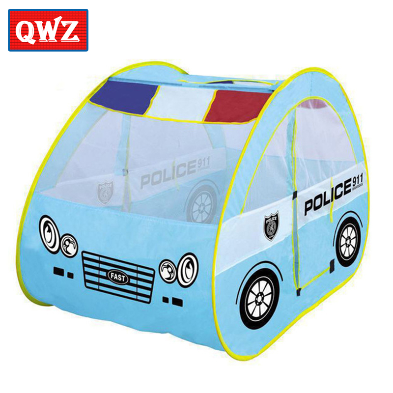 QWZ Toy Tent Police Patrol Car for kids Foldable Tent with Car Shape Indoor Outdoor Play House Cute Portable Ocean Ball Pool