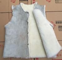 2019 wool vest genuine leather fur fashion warm fur vest sheepskin bladder waistcoat