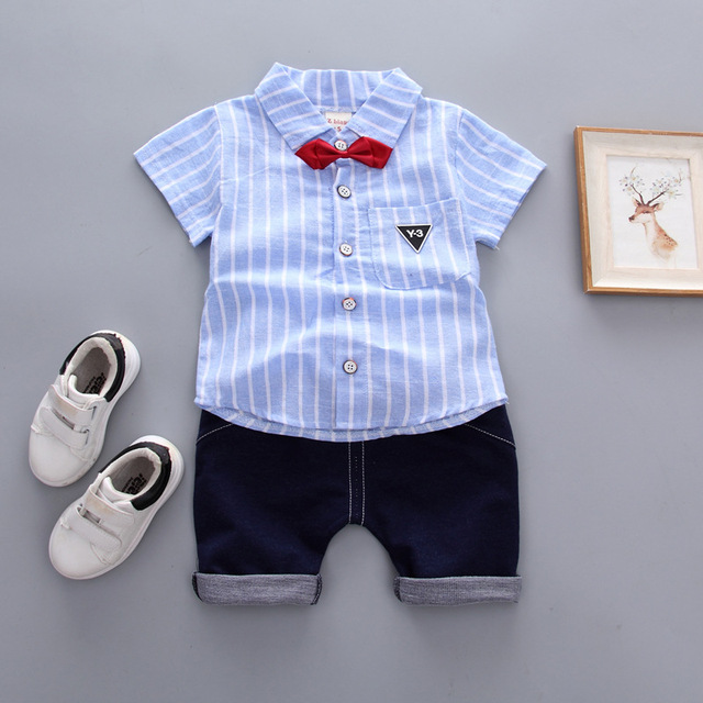 bdd50b16ff1d 2018 Summer kids clothes gentleman boy cotton short-sleeved striped shirt + shorts  suit 2