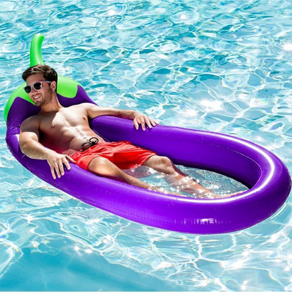 Inflatable eggplant lounge chair flamingo swimming float pool float swan for adult tube raft kid swimming