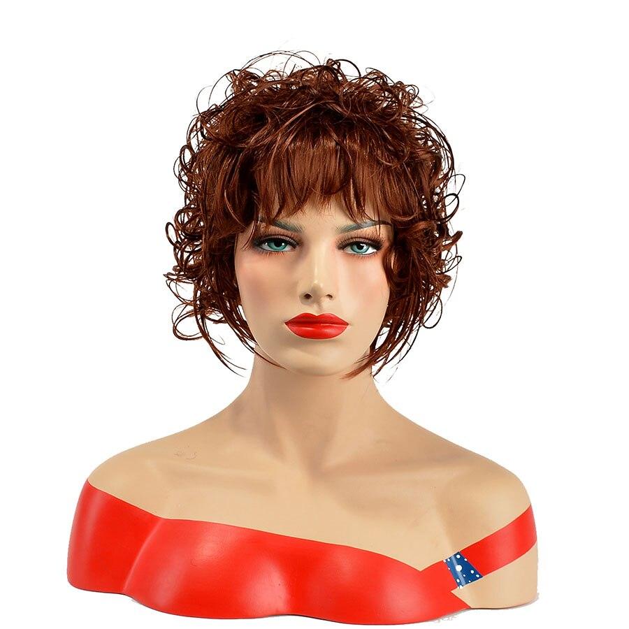 Alizing Curto Sintético Peruca Onda Grande Onda Produto de cabelo Cortes de Cabelo Curto Bonito Peruca Resistente Ao Calor Marrom Perruque Peruca Estilo de Cabelo 0012