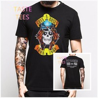 2016 Brand Harajuku 3D Guns N Roses T Shirt Men Front Back Print Black Short Sleeve