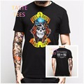 Summer Rocky Brand Clothing Guns N Rose T Shirt Men Harajuku Print Black Short Sleeve Cotton Tshirt Hip Hop O Neck Casual Shirts