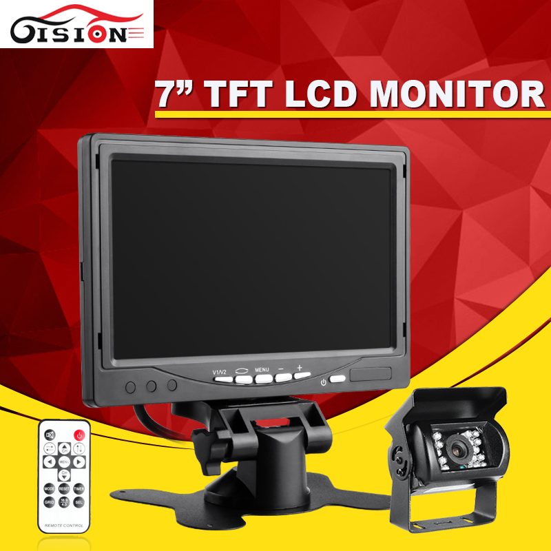 7 Inch Color TFT LCD12V Car Monitor Rear View Headrest monitor With2 Channels Video Input For DVD VCD Reversing Rear view Camer hd 7 inch color tft lcd car monitor rear view cctv monitor display with 2 channels video input for dvd vcd reversing camera