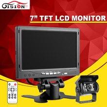 7 Polegada TFT a Cores LCD12V Monitor Do Carro Rear View monitor de Encosto de cabeça com2 Canais de Entrada de Vídeo Para VCD DVD Invertendo Rear view Camer