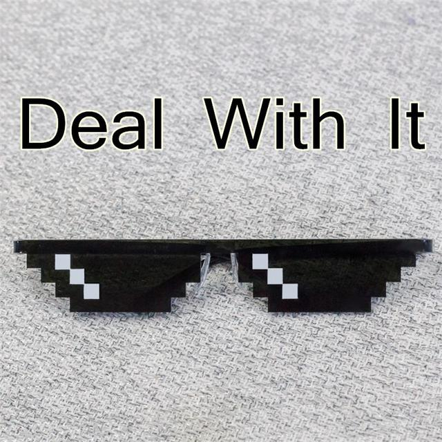 HOT Deal With It Glasses Thug Life 8 Bits Pixel Sunglasses Women Men Black Mosaic Masculine