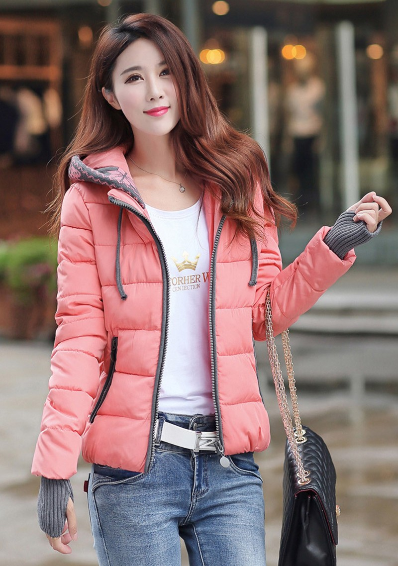Women Winter Coat Long Sleeve Print Floral Hooded Slim Winter Parka Plus Size Cotton-Padded Jackets 2XL (9)