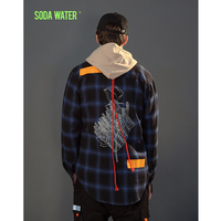 SODA WATER 2018 New spring thick tartan check shirts thick plus size long checked shirts vintage england style mens Plaid 8714W