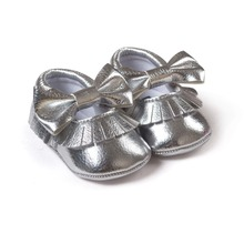 Silver baby girls boys butterfly knot sneakers shoes baby first walkers newborn infantil bebe shoes by Pu leather 0~18month
