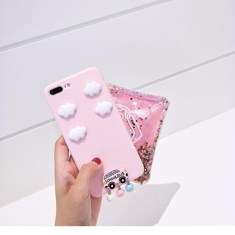 HLTC 3D Silicon School Bus Phone Case For Apple iPhone 6 6s 6plus 6splus 7 7plus 8 8plus Pink soft phone bag cover casing capas