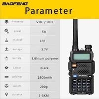 """רדיו ווקי טוקי (4 PCS) Baofeng UV5R Ham שני הדרך רדיו טוקי ווקי Dual-Band מקמ""""ש (שחור) (5)"""