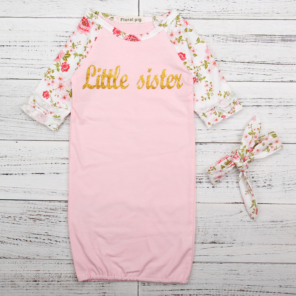 2017 Newborn Lovely Baby Girls Little Sister Floral Print Long Sleeve Pink Baby Sleeping Bags Sleep Sack Envelope Newborn Baby ...