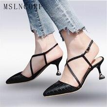Plus Size 34-43 Fashion Summer Women High Heels Dress Shoes Pointed Toe Bandage Stiletto Mules Pumps Sandals zapatos mujer New недорго, оригинальная цена