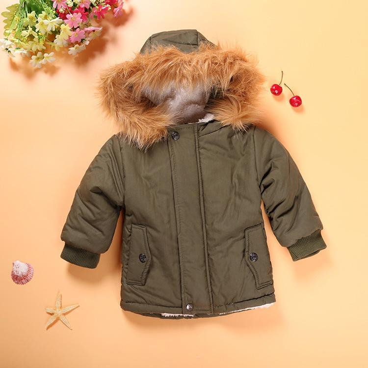 2017 Boy Army Green Hooded Jacket Winter Kids Jackets Children Coat Children Clothing Baby Girl Winter Fur Hoodies Kids Clothes