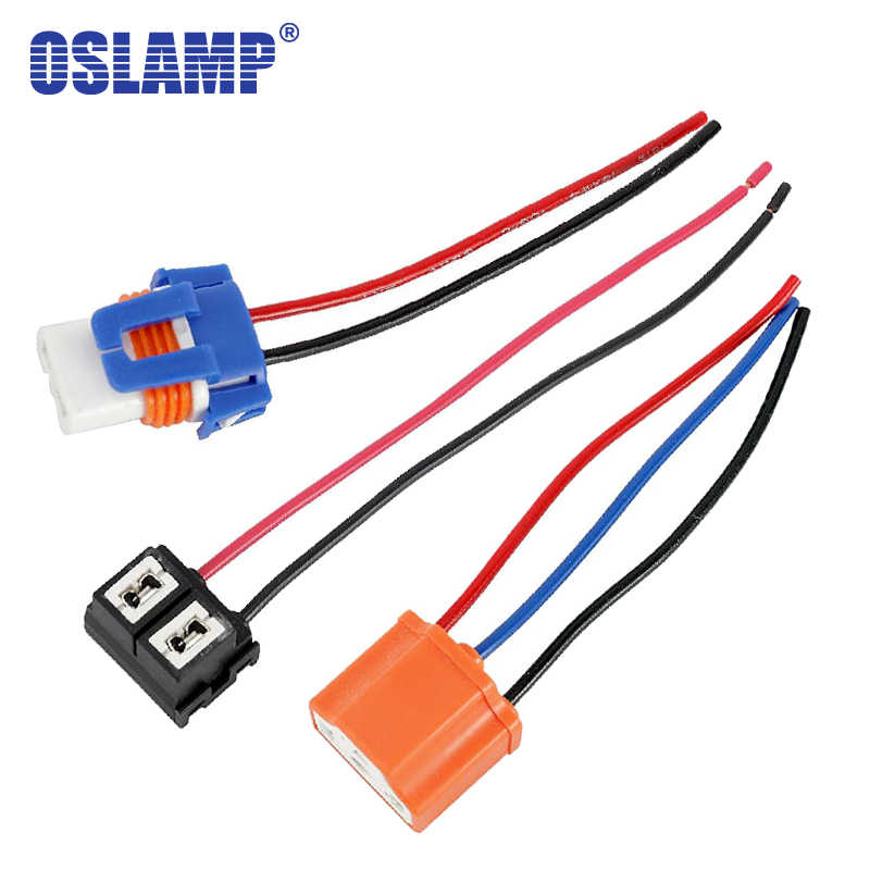 Oslamp For H4 H7 H11 9005 9006 H1 Socket Adapter Wire 2pcs/Pack LED Replacement Car Bulbs Ceramic Holder Converter with Wiring