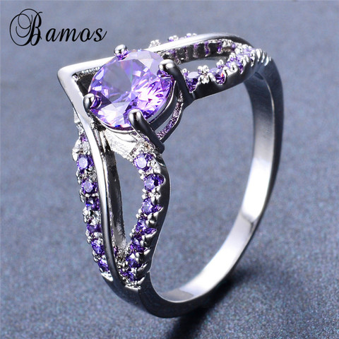 Bamos New V Shape Design Round Multicolor AAA Zircon Birthstone Ring White Gold Filled Best Wedding Rings For Women Lover Gifts Islamabad