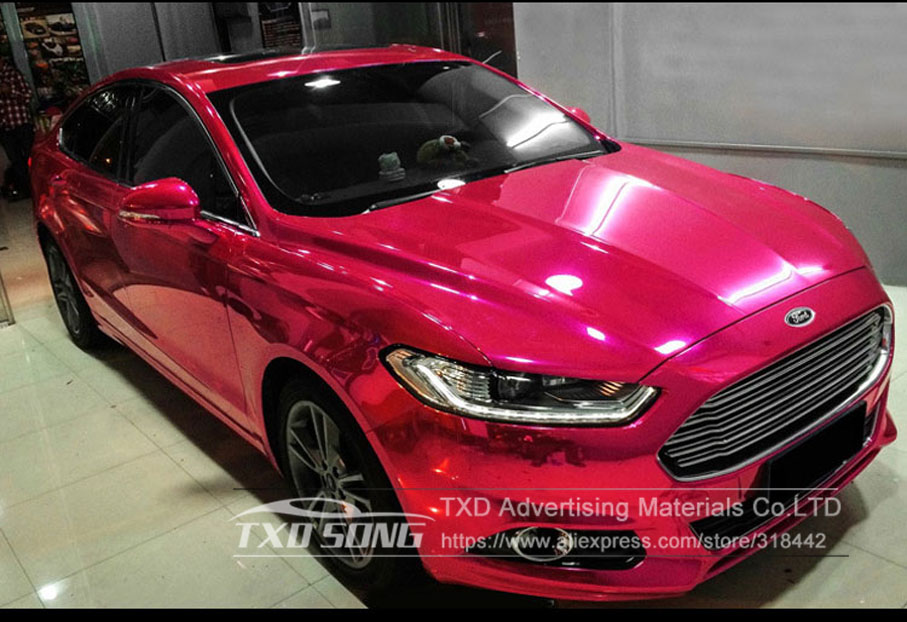 Image 4 - 50CM*1M/2M/3M/4M/5M Roll Car styling High stretchable Mirror Rose Red Chrome Mirror Vinyl Wrap Sheet Roll Film Car Sticker-in Car Stickers from Automobiles & Motorcycles