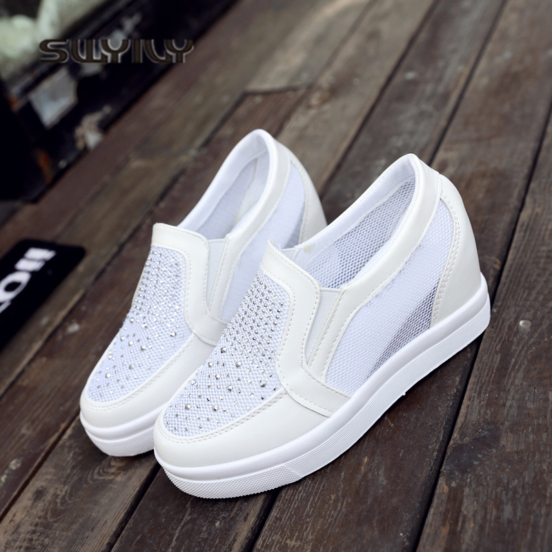 SWYIVY Women's Vulcanize Shoes Hided Increased Wedge Heel 2018 White Shoes Sneakers Woman Platform Breathable  Canvas Shoes  Net de la chance women vulcanize shoes platform breathable canvas shoes woman wedge sneakers casual fashion candy color students