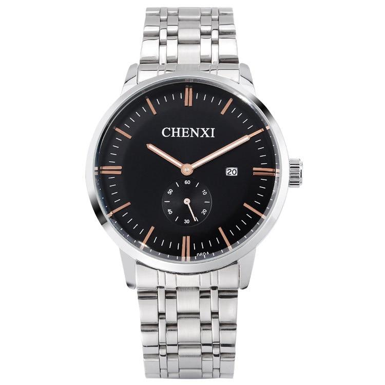 Chenxi Brand Casual Lovers Watches Men Women Ladies Fashion Quartz Wristwatch Rose Gold Stainless Steel Couple Business Calendar