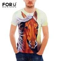 FORUDESIGNS Groothandel 3D Crazy Horse Tee Shirt voor Mannen Zomer stijl Korte Mouw Mannelijke Comfort T-shirt Grappig Dier Afdrukken Top