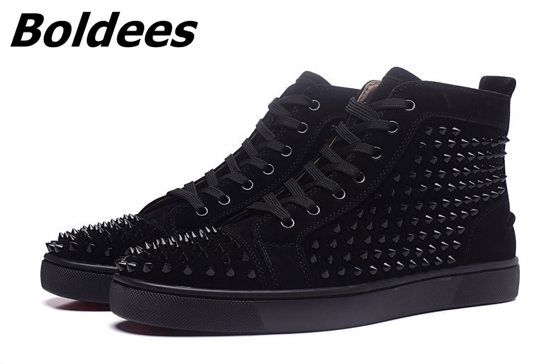 Boldees Tennis Men Sportswear Black Party Shoes Suede Spikes Studded Shoes Men Brand High Top Casual Shoes Flats Sneakers