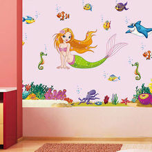 60x90cm New Sea World The Little Mermaid Wall Sticker PVC Mural Decal For  Girls Kids Room Part 97