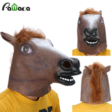 Horse Head Mask Creepy Fur Mane Latex Realistic Mask Full Face Silicone Crazy Mascara Creepy Party Halloween Adult Costume Mask(China)