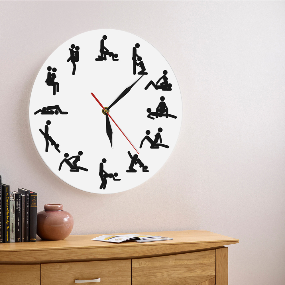 1Piece Kamasutra Contemporary Wall Clock Personalized Wall Clock Home Decor 24hours Naughty <font><b>Sex</b></font> Positions Adult Wall <font><b>Watch</b></font> Clock image