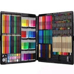Ccfoud 258 قطعة الأطفال مجموعة أدوات رسم الملونة أقلام الطباشير المائية القلم أقلام خطاط (ماركر) الرسم أداة فرشاة الطفل وازم الفن