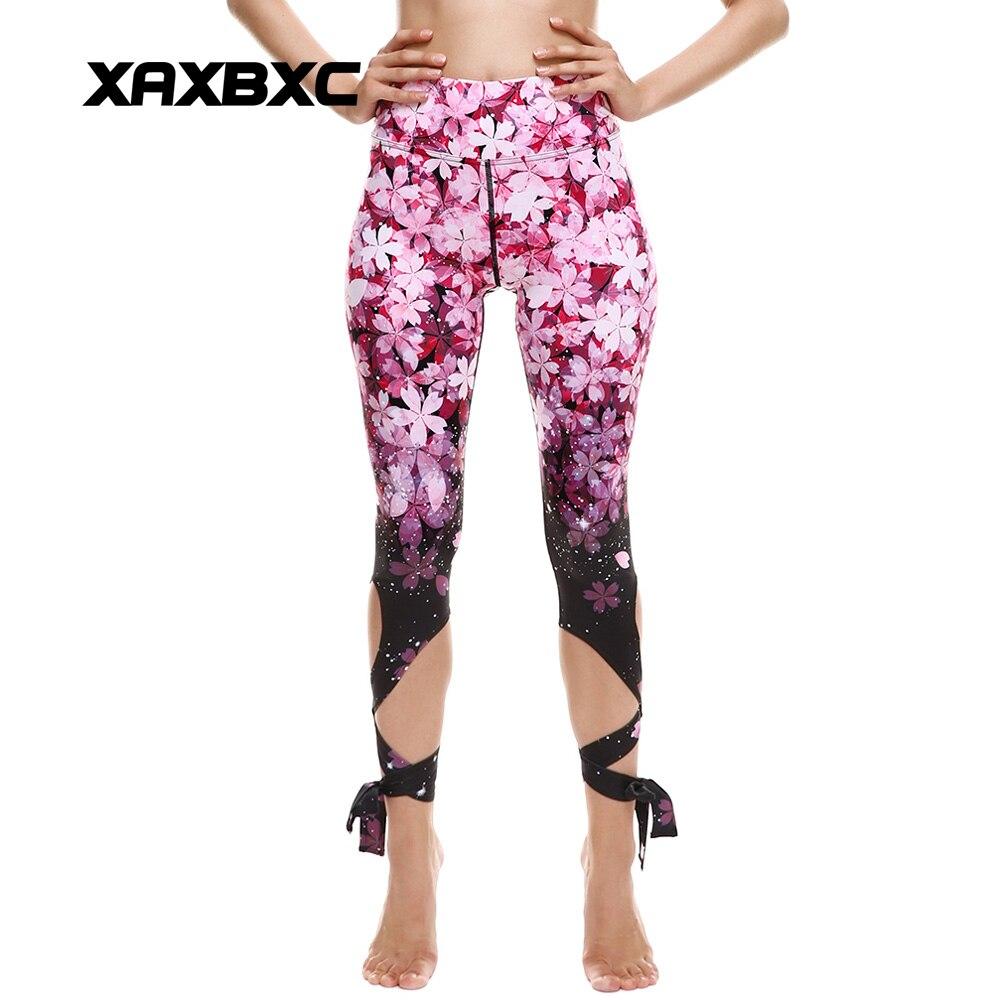 2018 New 013 Sakura Cherry Flower Printed Slim Fitness Workout Push Up High Waist Sexy Women Stitch Bandage   Leggings   Femme Pant