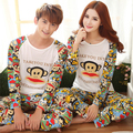 2016 Autumn Long-sleeve Cartoon Lovers Home Clothing Couples Matching Pajamas Adult Minion Pajamas Sets Lovers Sleepwear