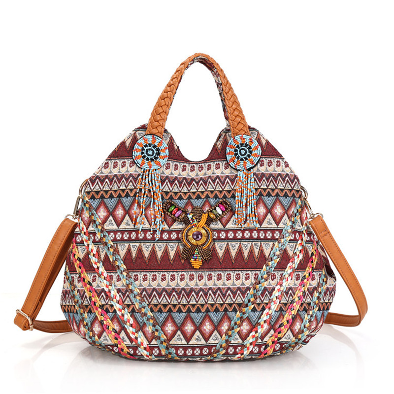 Trendy embroidery Women Striped PU Leather Handbag Bohemian Boho Gypsy Bags  Cotton Fabric Bag national folk custom ethnic bags-in Shoulder Bags from  Luggage ... e5e002b717924