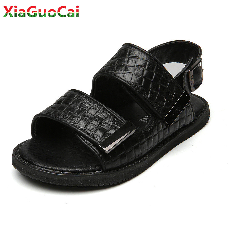 Summer Kids Genuine Leather Sandals Children Boys Girls Soft Bottom Open Toe Non-slip Beach Student Casual Shoes High quality B3