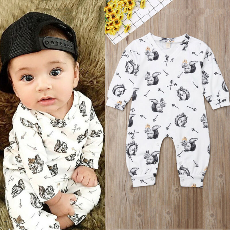 0-24 Months Unisex Baby Rompers Hedgehog Print Baby Girls Rompers Long Sleeve One Piece Bodysuit For Boys Child Newborn Clothes