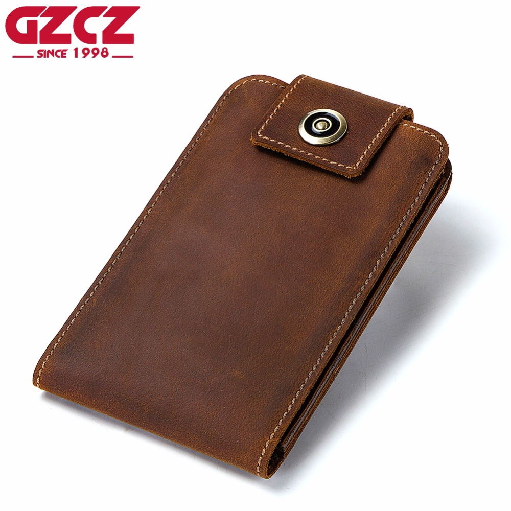 GZCZ Genuine Leather Wallet Male Famous Brand Card Holder Portomonee Coin Purse Cell Phone Clutch Money Bag Kashelek Rfid 2018