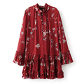 2017 mulheres túnica dress floral impresso shirt dress lace up v long neck sleeve plus size soltas casual mini dress marca vestidos