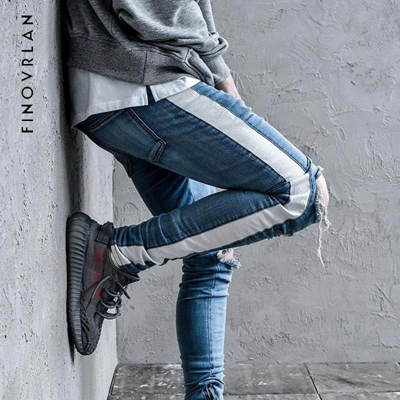 KANYE WEST Fear of god Knee Hole Side Zipper Slim Distressed   Jeans   Men justin bieber Ripped tore up   Jeans   For Men stripe pants