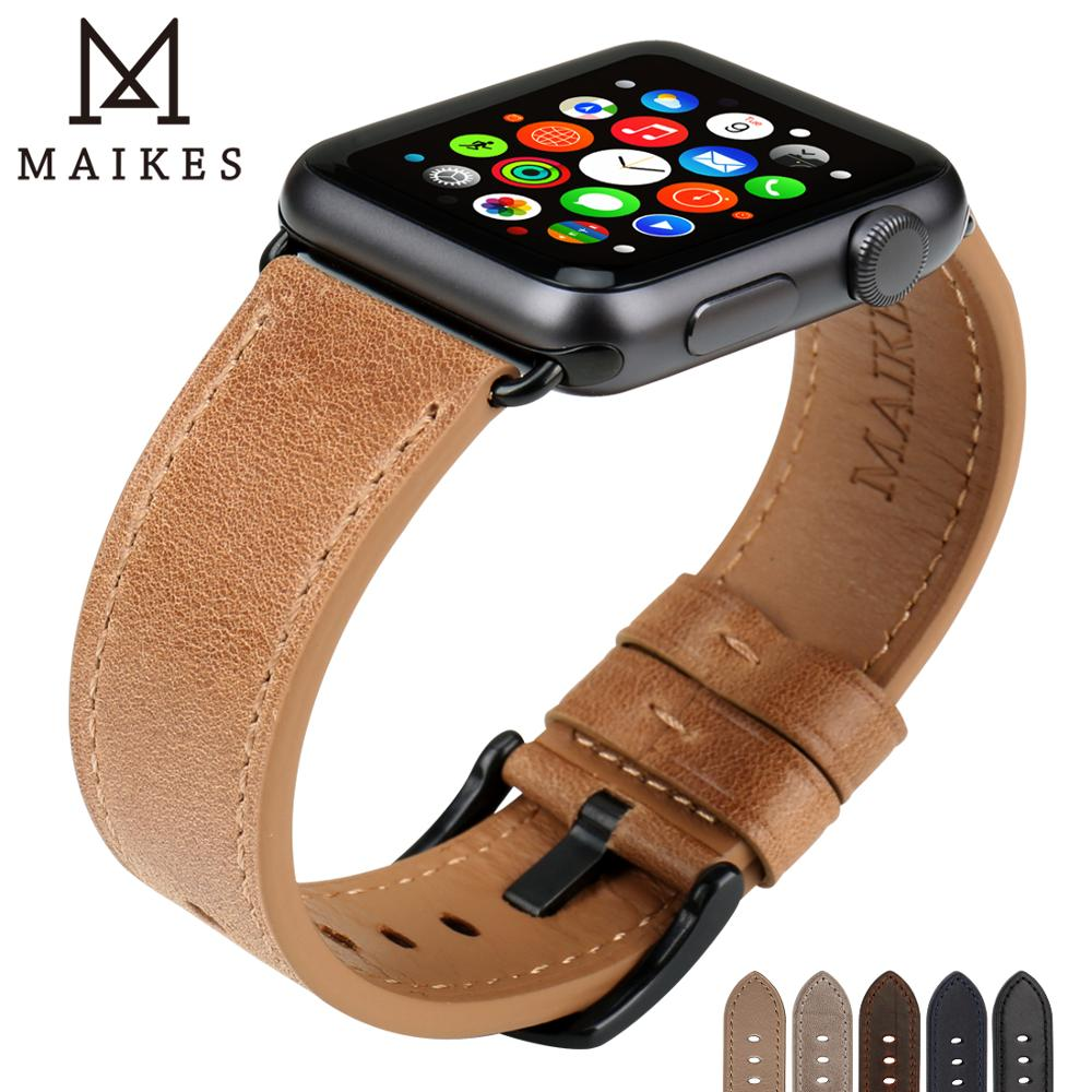 Image 5 - MAIKES Watch Accessories Genuine Leather Dark Brown iwatch Strap 44mm 40mm For Apple Watch Band 42mm 38mm Series 4   1 Bracelets-in Watchbands from Watches