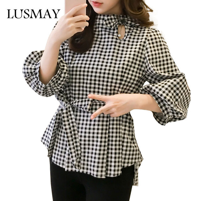 Beautiful Fashion Peplum Tops Womens Clothing 2018 Spring Black And White  QH45