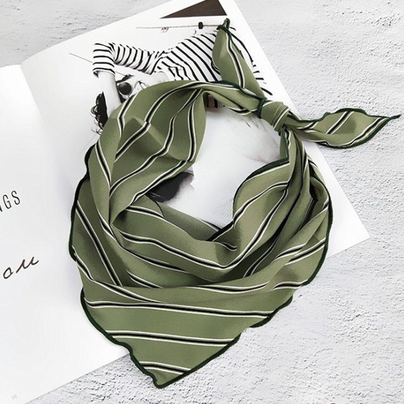 Gootrades 33*85 Cm Silk Scarf Small Soft Squares Multifunctional Head Scarf Multicolor Stripe Print Kerchief Neck Wrap Decoratio