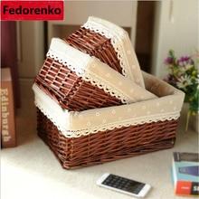 Wicker Woven Craft Basket Cosmetic Storage Box bins Room Organizer laundry hamper Decorative Reto Desktop Books Sundries Baskets