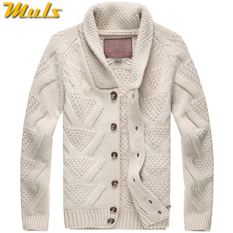 Muls Luxury Collection Men Cardigans 80% Wool 20% Acrylic Winter Thick Cardigan Sweater Jacket Men Navy Khaki Turn-down Collar cardigan