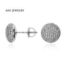 ANI 14k White Gold Women Stud Earrings 1.02 CT Certified I/S1 Natural Diamond Young Lady Stud Earrings Brand Jewelry Customized недорого