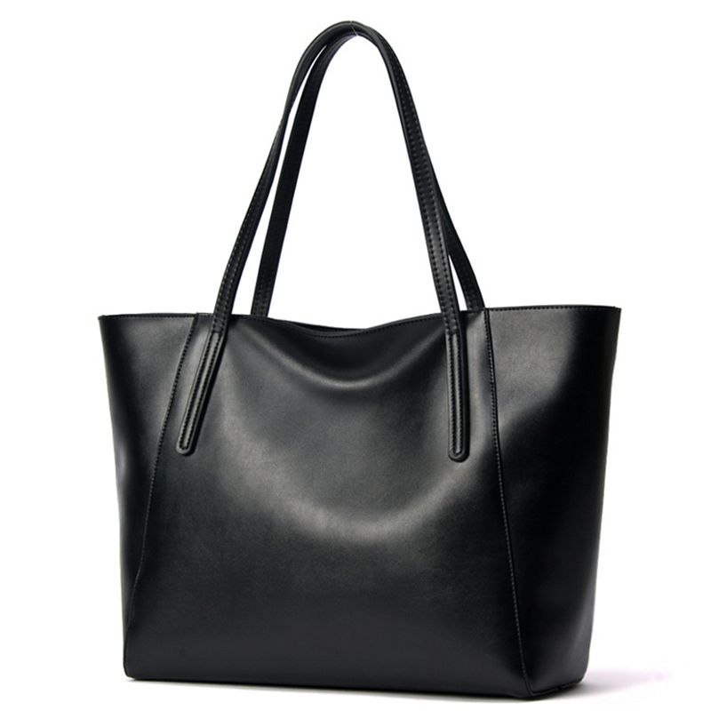2016 Famous Brand Large Real Leather Tote Bag Female Cow Leather Handbag High-End Women Vintage Bag Black Casual Top-Handle Bags new famous brand women vintage handbag tote bag feme shoulder crossbody bag female striped metal ring handle bag top quality sac