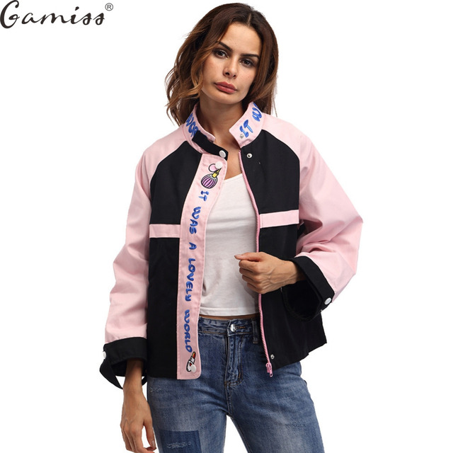 8950e3fca67 Gamiss Women 2017 Winter Embroidery Basic Coats Pink Cute Coat Bomber  Jacket Long Sleeve Pocket Zipper Jackets Patchwork Outwear