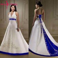 Красота Эмили Элегантный Royal Blue Line Свадебные платья 2018 Холтер шеи зашнуровать закрытия Свадебные платья Vestido свадебные платья